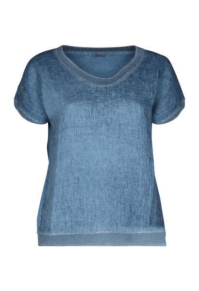 T-shirt linnen vooraan tricot achteraan - Indigo
