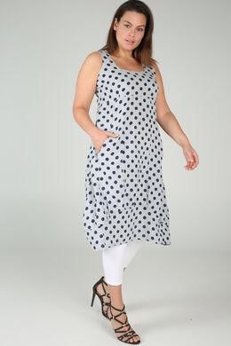 Lange jurk in linnen met stippen, Lichtgrijs