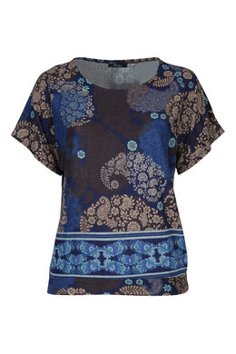 T-shirt in warm tricot, Indigo