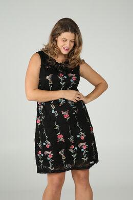 Mouwloze jurk in geborduurde kant, Zwart