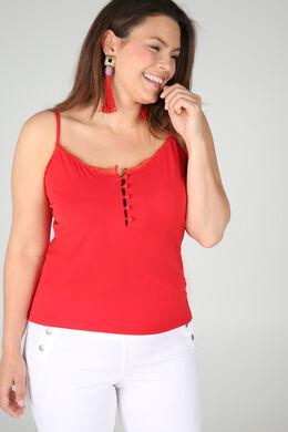 Top met dunne, aanpasbare schouderbandjes, Rood