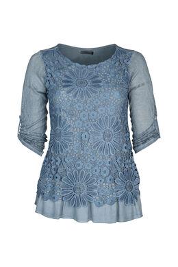 T-shirt in tricot met knoopwerk, Indigo