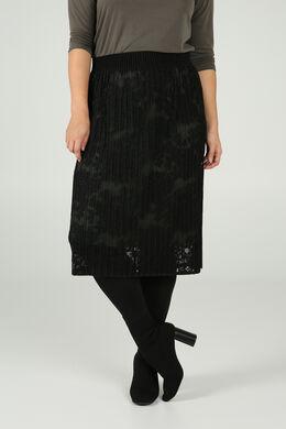Halflange rok in geborduurde kant, Zwart