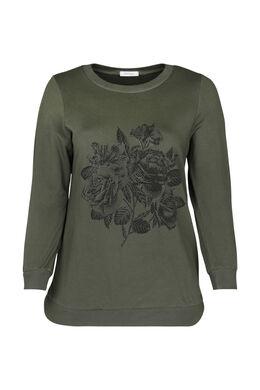 Sweater met rozenprint en strassteentjes, Kaki