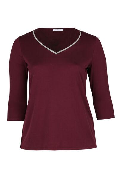 T-shirt met juweelkraag - Pruim