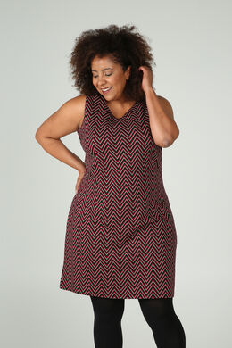 Mouwloze jurk in jacquardtricot, Rood