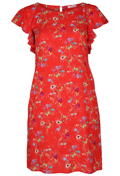 Jurk in crêpe met bloemenprint - Rood