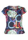 T-shirt in koel tricot met watervalkraag, Multicolor