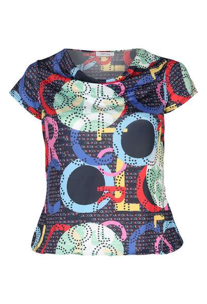 T-shirt in koel tricot met watervalkraag - Multicolor