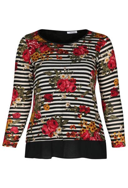 T-shirt met strepen en bloemen - Zwart