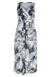 Lange jurk met gomprint van bladeren
