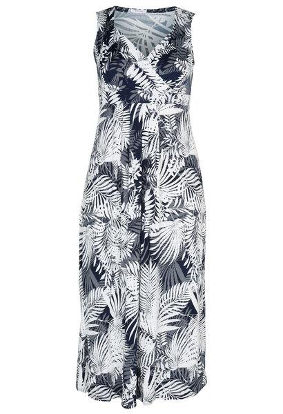 Lange jurk met gomprint van bladeren - Marineblauw