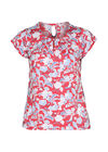 T-shirt in koel tricot met gomprint van bloemen en bladeren, Oranje