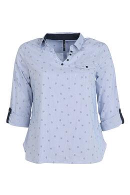 Gestreept hemd met hartjes, Marineblauw
