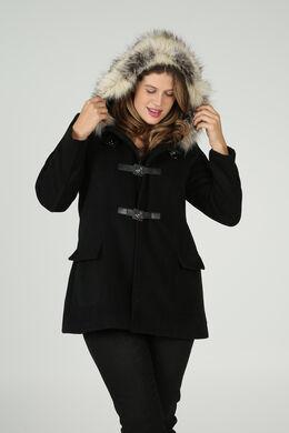 Mantel met bontkap, Zwart