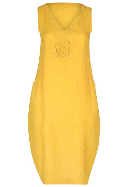 Lange jurk in linnen - Geel