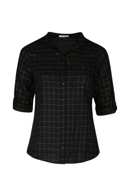 Geruite blouse, Zwart