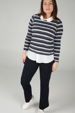 T-shirt in gestreept tricot, Marineblauw