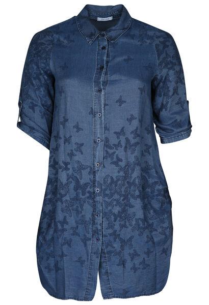 Lang hemd met print - Denim
