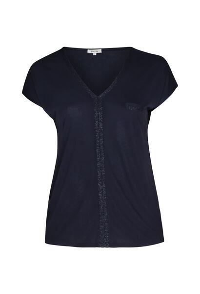 T-shirt in viscose - Marineblauw