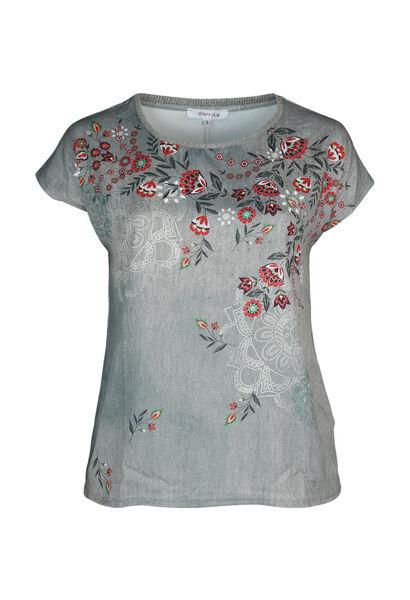 Bedrukt T-shirt in twee stoffen - Kaki