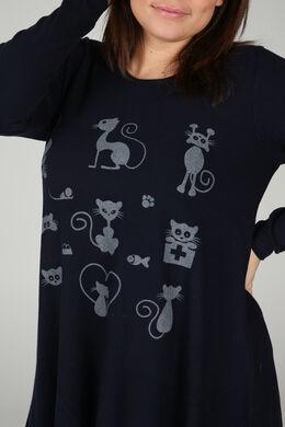 Trui met kattenprint, Marineblauw