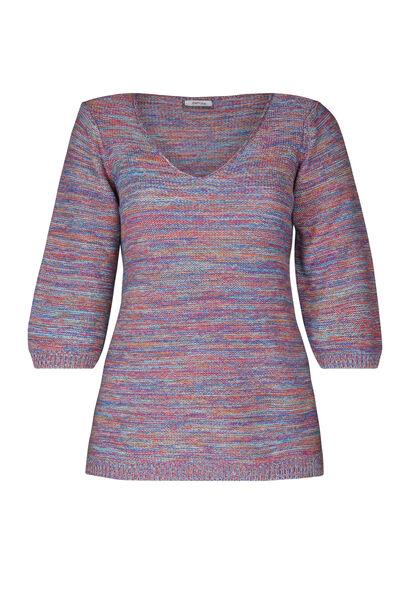 Gestreepte trui met 3/4-mouwen - Multicolor
