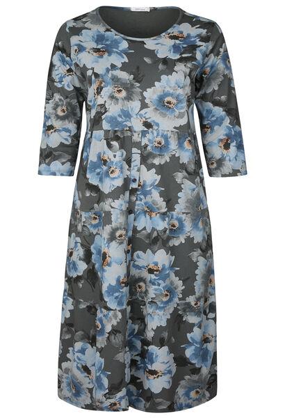Lange jurk in katoen met bloemenprint - Antraciet