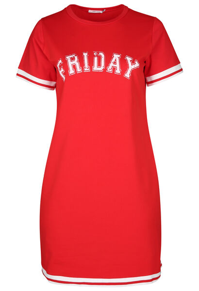 Sportieve jurk met opdruk 'Friday' - Rood