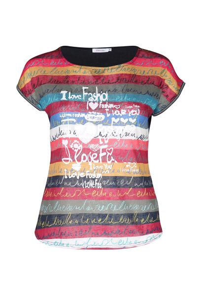 T-shirt in bedrukt linnen - Multicolor