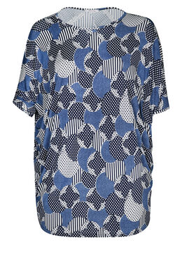Tuniek t-shirt in gomtricot, Marineblauw