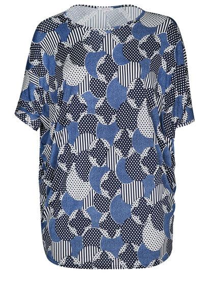Tuniek t-shirt in gomtricot - Marineblauw