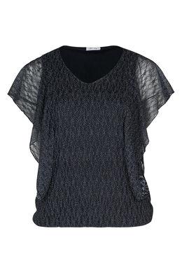 T-shirt in kant met gomprint, Marineblauw