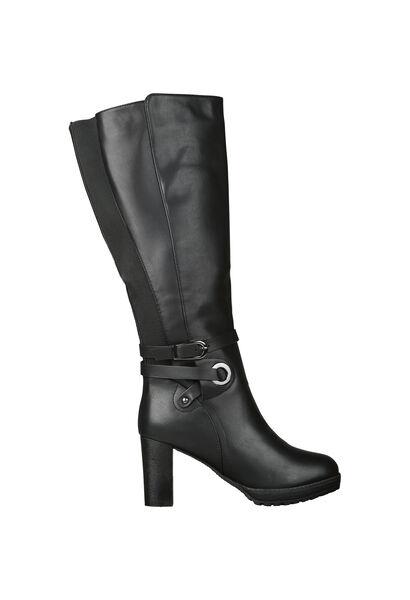 Laarzen met hoge hakken voor brede kuiten - Zwart