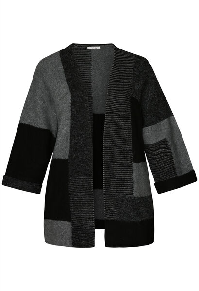 Lange coloured block cardigan - Zwart