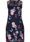 Kanten jurk met bloemen en vlinders, Marineblauw