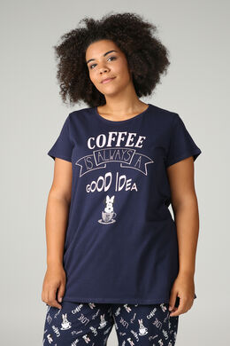 Pyjama-T-shirt 'Coffee is always a good idea', Marineblauw