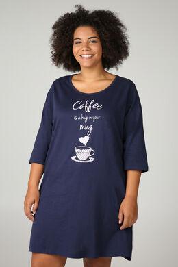 Nachtkleed 'coffee is a hug in your mug', Marineblauw