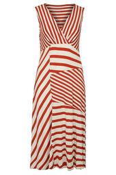 Lange jurk met een mix van strepen