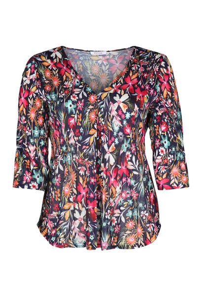 T-shirt met bloemenprint - Multicolor