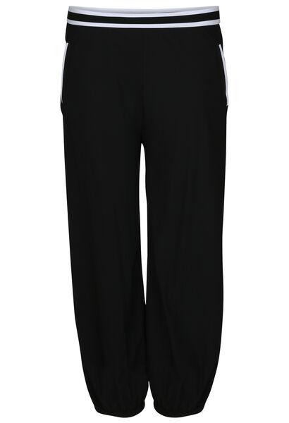 Broek met poffend effect en elastische stroken - Zwart