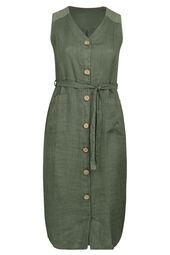 Linnen jurk met houten knopen