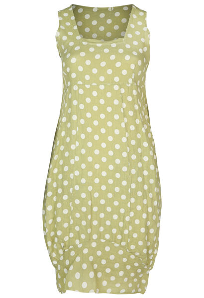 middenlange jurk in linnen met stippen - Olijfgroen