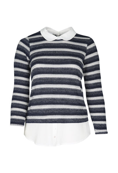 T-shirt in gestreept tricot - Marineblauw