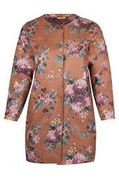 Lange jas in suèdine met bloemenprint