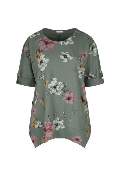 Tuniek-T-shirt in sweaterstof met bloemenprint - Kaki