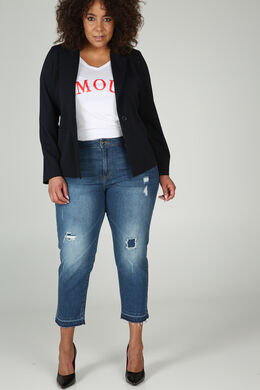 3/4 Destroy jeansbroek, Denim
