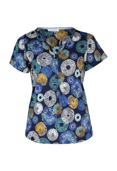 T-shirt in koel tricot met cirkels - Bic blauw
