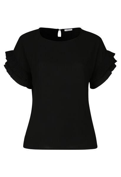 Ruime blouse met mouwen met dubbele volants - Zwart