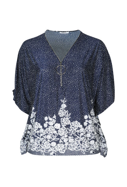 Poncho-T-shirt in koel tricot met rits - Marineblauw